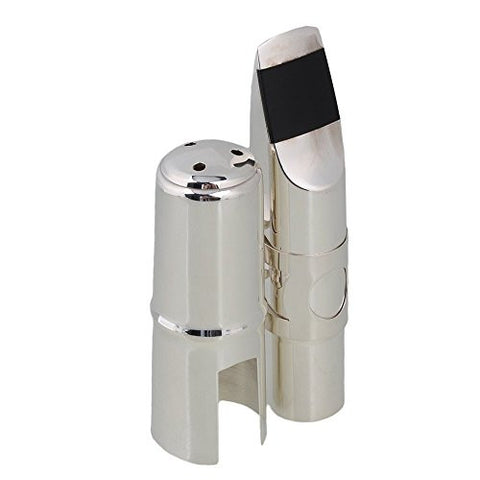 Yibuy Silver Brass #7 Nickel-plated E-flat Alto Saxophone Mouthpiece with Cap Ligature