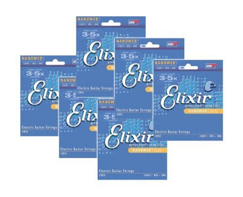 Elixir Strings 12052 Nanoweb Electric Guitar Strings .010-.046 (6-pack)