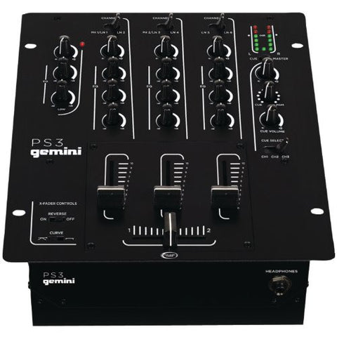 Gemini PS3 Professional 3-Channel Stereo DJ Mixer with USB