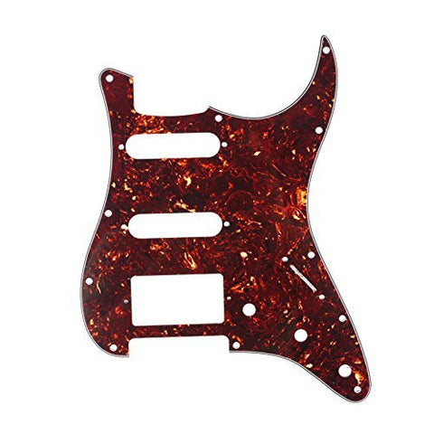 Musiclily HSS 11 Holes Strat Electric Guitar Pickguard for Fender US/Mexico Made Standard Stratocaster Modern,4Ply Celluloid Dark Brown Tortoise