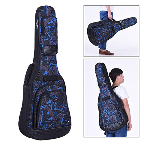 "1Pc 42"" Acoustic Folk Classical Guitar Bag Case Backpack Gig Bag Adjustable Shoulder Strap 600D Cloth Multiple Pocket - Blue"