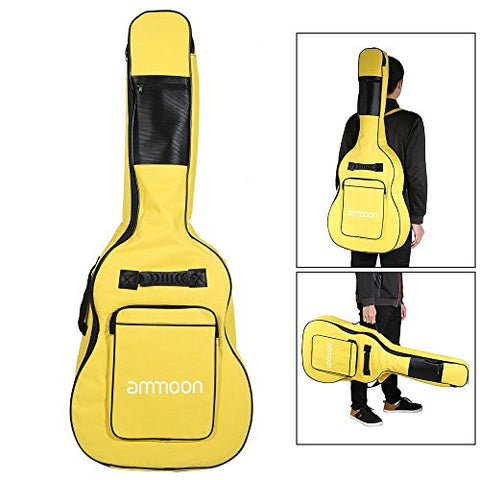 "1Pc 600D 40"" 41"" Guitar Bag Backpack Gig Bag Double Straps 5mm Padded Double Zipper Non-slip Pads Bottom Guitar Parts - Yellow"