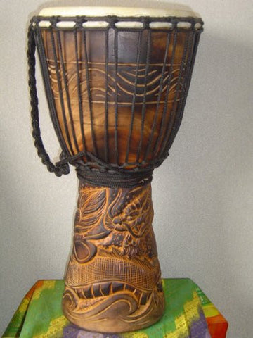 "20"" Handmade Deep Carved Djembe Bongo Drum DRAGONS with Free Cover, Model # 50M21"