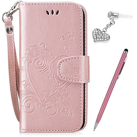 "iPhone 6S Plus Case,iPhone 6 Plus Case,ikasus Embossing Love Butterfly Flower Flip Folio Wallet Case PU Leather Stand Protective Case +Touch Pen Dust Plug for iPhone 6S Plus / 6 Plus 5.5"",Rose Gold"