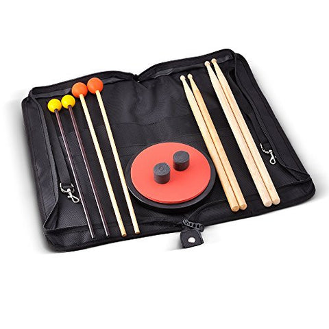 Moozikpro Elementary Drumstick Set, 4 Pairs of Drumsticks + 2 Pieces of Drummer's Tape + 1 Practice Pad + 1 Drumstick Bag