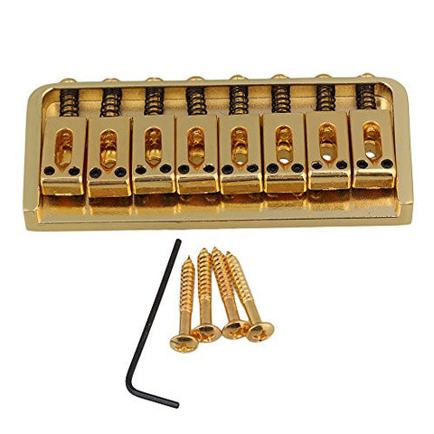 Yibuy 93x40x12mm Golden 8 String Fixed Electric Guitar Bridge & Wrench & Screws