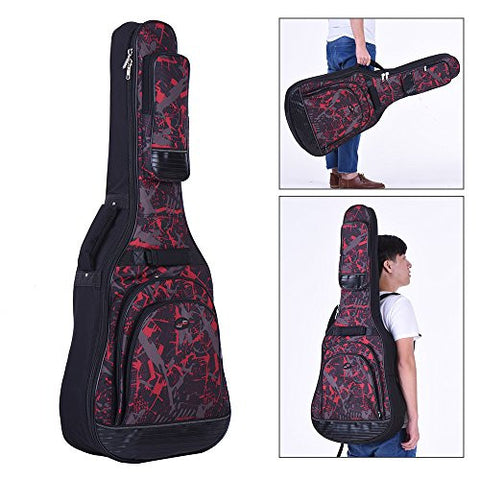 "1Pc 42"" Acoustic Folk Classical Guitar Bag Case Backpack Gig Bag Adjustable Shoulder Strap 600D Cloth Multiple Pocket - Red"