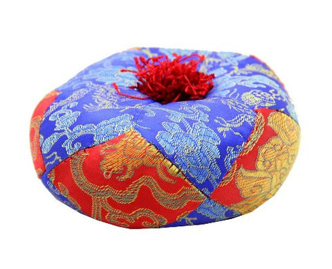 Tibetan Small Satin Brocade Singing Bowl Cushion Pillow Blue Red