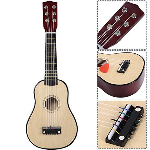 "25"" Beginners Kids Acoustic Guitar 6 String with Pick Children Kids Gift (Tan)"