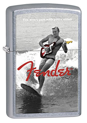 Zippo Lighter: Fender Guitar on Surfboard - Street Chrome