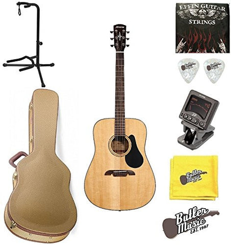 Alvarez AD30 Artist Series Dreadnought Acoustic w/GD Tweed Hard case and More