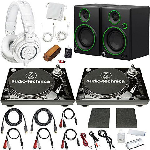 Audio-Technica Professional Dual LP120USB Turntable (Black) Pro DJ Set Complete Vinyl Bundle with M50X Headphones Mackie CR3 Speakers and More