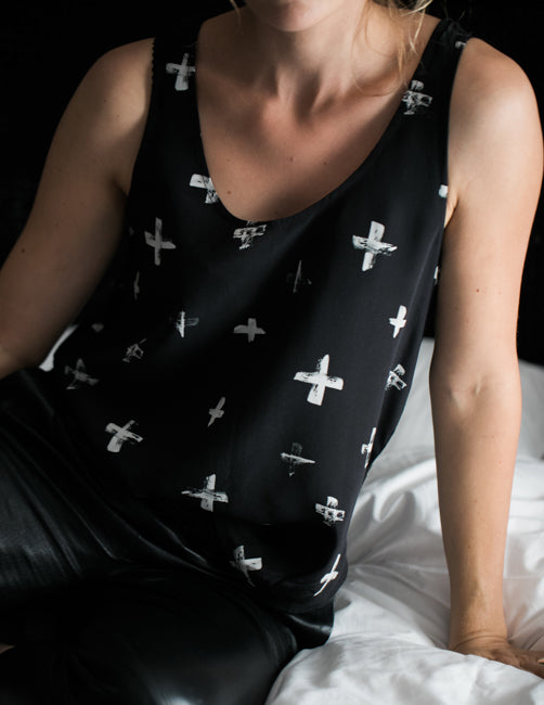 The Perfect Silk Tank - Cross Black