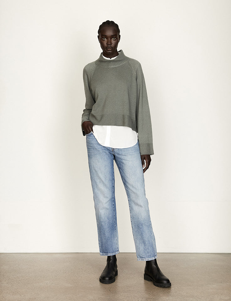 PRE ORDER -Together Cashmere Knit - Cropped - Agave