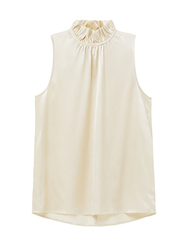 Silk Frill Neck Top - Ecru