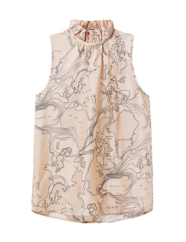 Silk Frill Neck Top - World Print