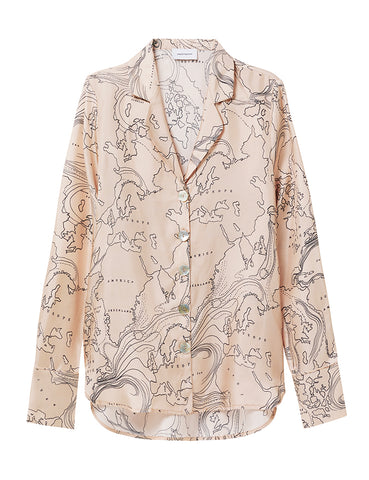 Relaxed Silk Shirt - world print