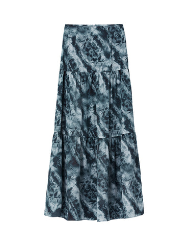 Silk Tiered Maxi Skirt - Aegean Tie Dye