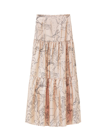 Silk Tiered Maxi Skirt - world print