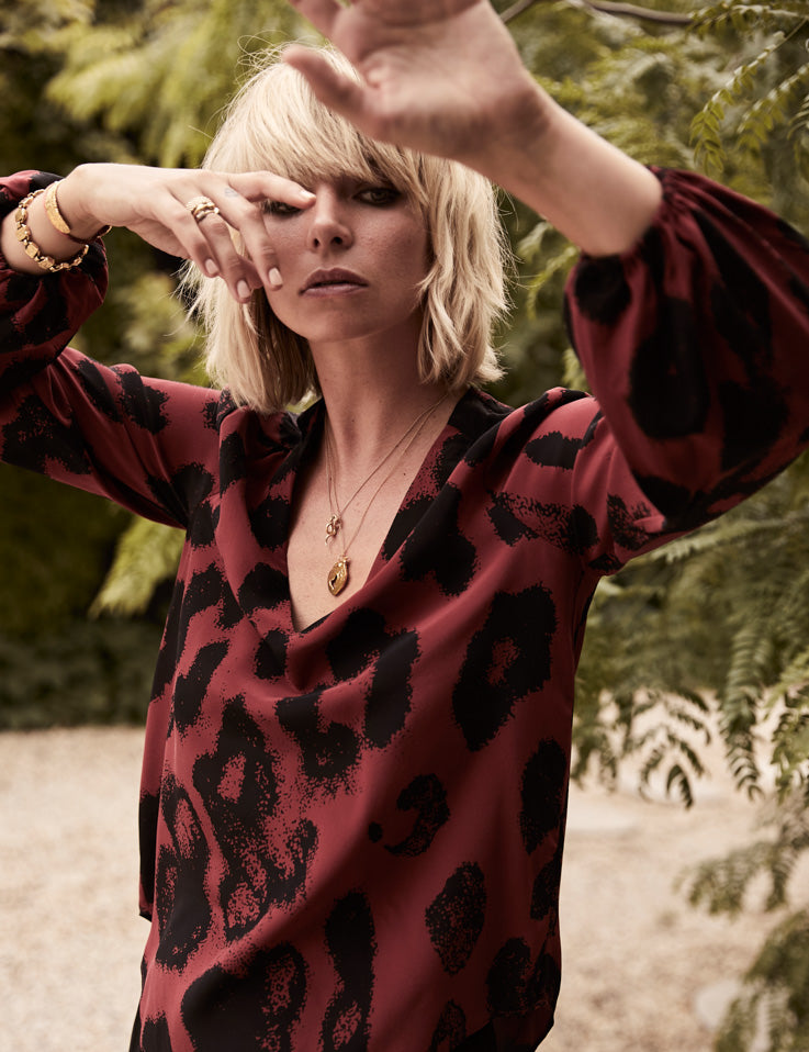 V Neck Silk Blouse - Persian Red Leopard