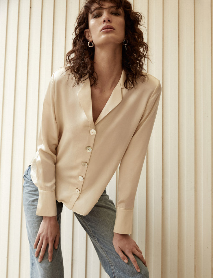 Relaxed Silk Shirt - ecru