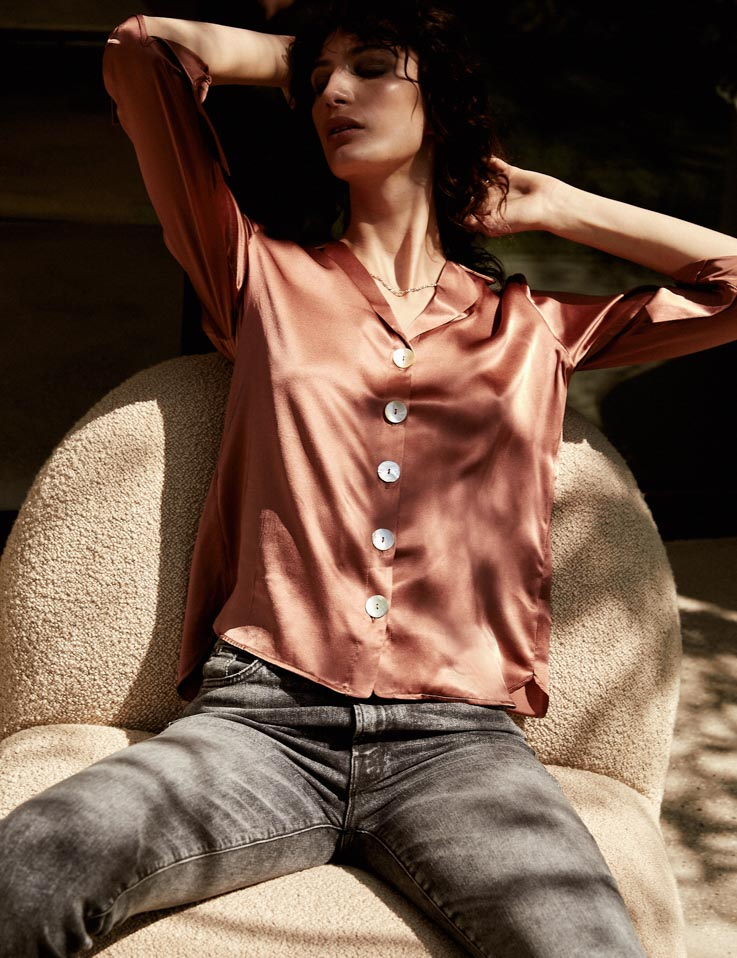 Relaxed Silk Shirt - Terracotta
