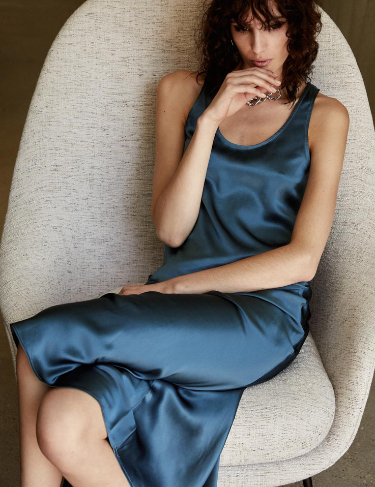 Perfect Silk Tank - Aegean Blue Satin