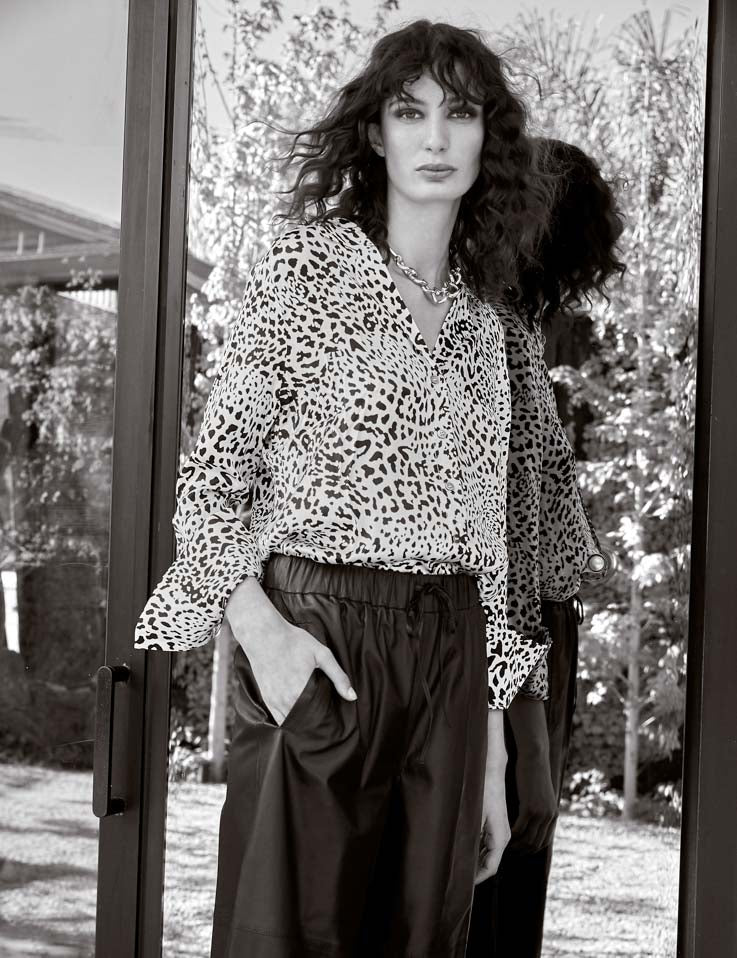 Relaxed Silk Shirt - White New Leopard