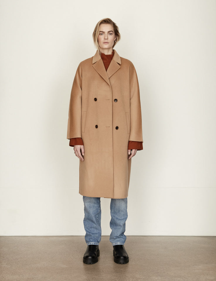 Cashmere Long Together Coat  - Camel