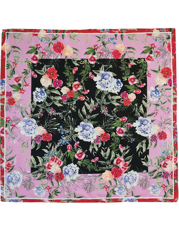 The Square Silk Twill Scarf  - hydrangea perfect