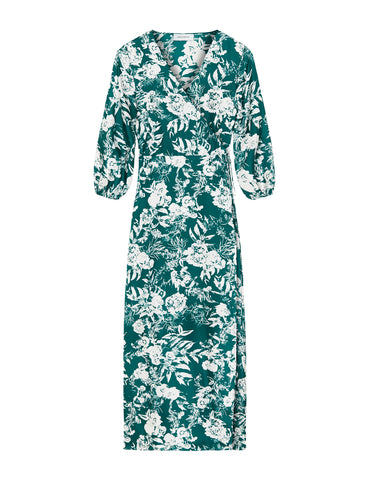 Silk Maxi Wrap Dress - Green Hydrangea