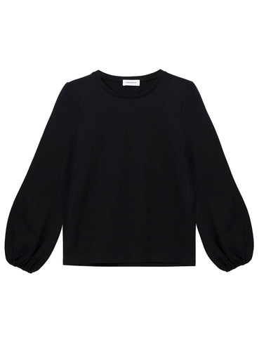 Organic Cotton Balloon Sleeve Sweatshirt - Black