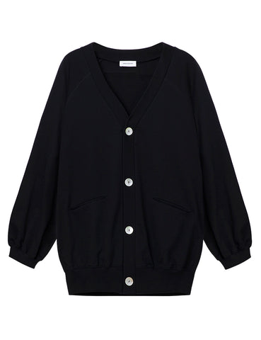 Organic Cotton Oversized Cardigan - Black