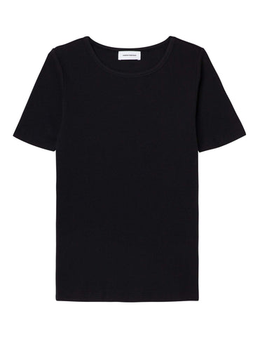Organic Cotton Ribbed Tee - Black