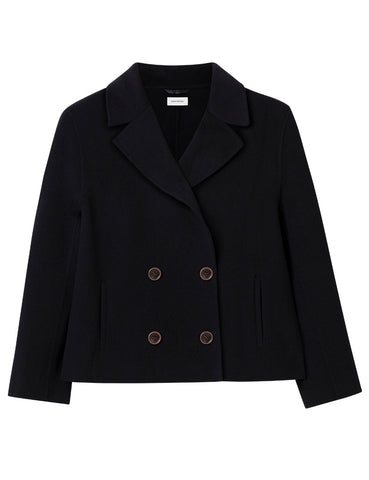 Cashmere Cropped Together Coat  - Black