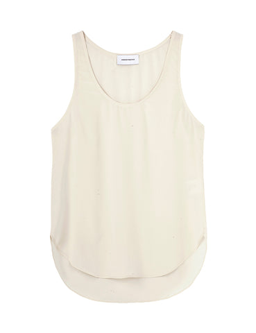 Perfect Silk Tank -Ecru crepe d' chine