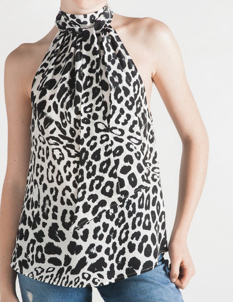 The Perfect Silk Halter Neck Top - Leopard Onyx