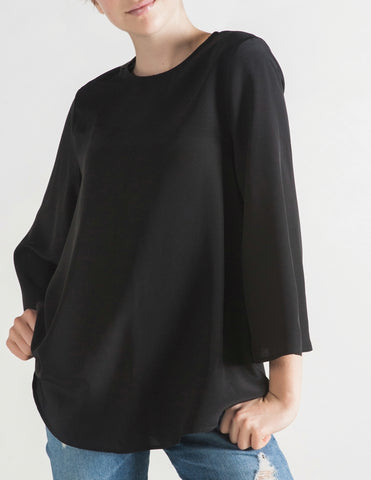 The Perfect Silk Swing Top - Black