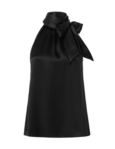 The Perfect Silk Halter Neck Top - Black Satin