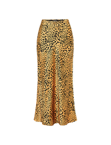 90s Slip Skirt - Gold Satin Silk Leopard