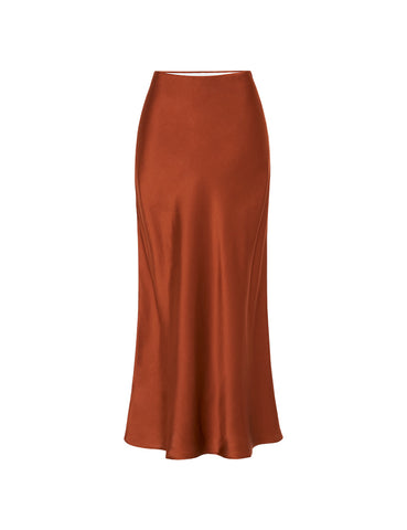 90s Slip Skirt - Rust Silk Satin