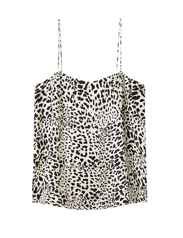 Relaxed Silk Camisole - White Satin Leopard
