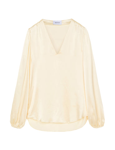 V Neck Silk Blouse - Ivory Satin