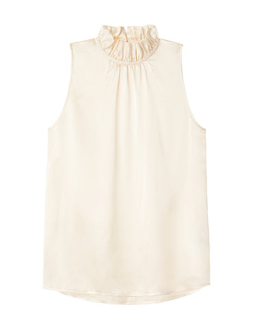 Silk Frill Neck Top - Ivory
