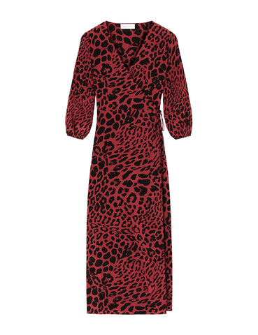 Silk Maxi Wrap Dress - True Blood Leopard