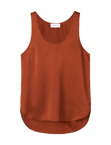 Perfect Silk Tank - Rust Satin