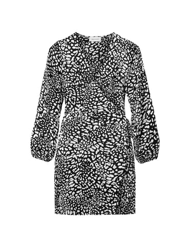 Silk Mini Wrap Dress - Black Satin New Leopard