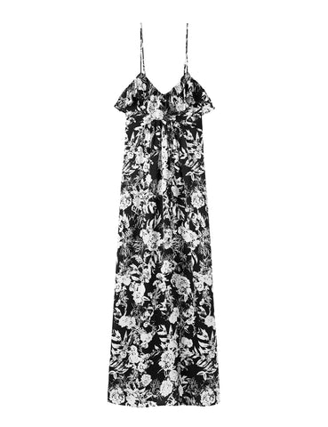 Silk Resort Dress - Black Satin Hydrangea