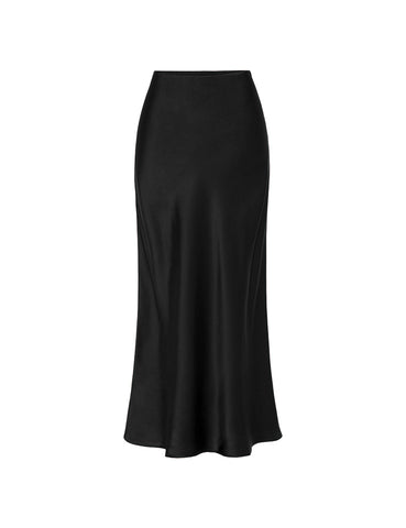 90s Slip Skirt - Black Silk Satin