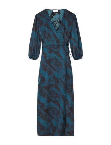 Silk Maxi Wrap Dress - Como Sky Satin